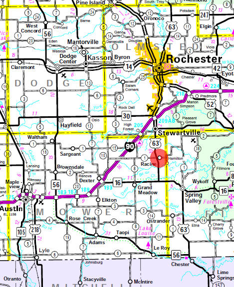 Minnesota State Highway Map of the Racine Minnesota area