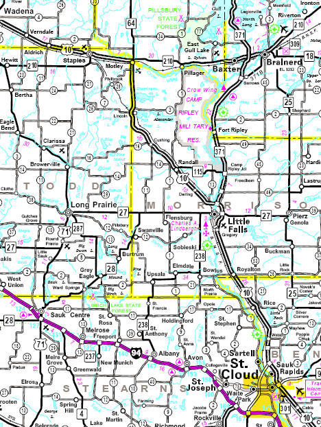 Highway map of the Randall Minnesota area