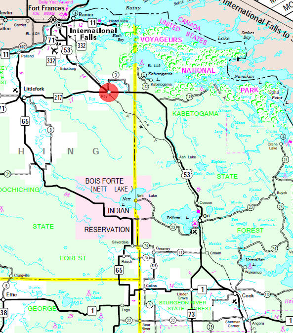 Minnesota State Highway Map of the Ray Minnesota area