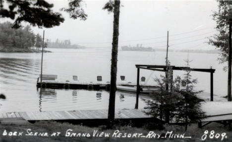 Dock scene at Grand View Resort, Ray Minnesota, 1930's?