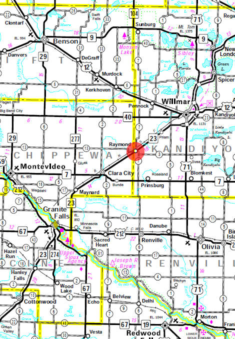 Minnesota State Highway Map of the Raymond Minnesota area
