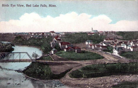 Birds Eye View, Red Red Lake Falls Minnesota, 1916