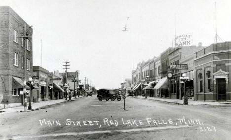 Main Street, Red Red Lake Falls Minnesota, 1920's