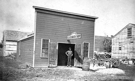 N. Lundquist Blacksmith Shop, Red Lake Falls Minnesota, 1900