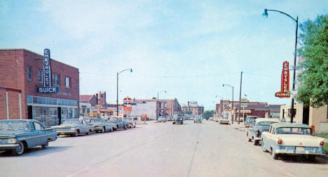 Street scene, Red Lake Falls Minnesota, 1950's