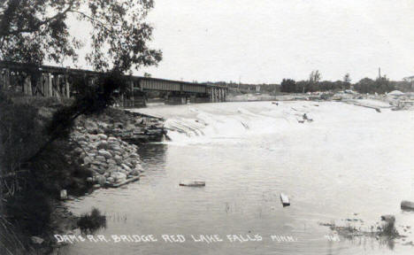 Dam and Railroad Bridge, Red Lake Falls Minnesota, 1940's?