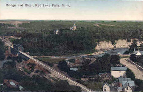 Bridge and River, Red Lake Falls Minnesota, 1910's?