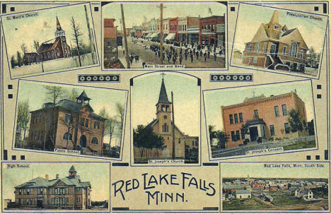 Multiple views, Red Lake Falls Minnesota, 1909
