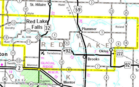 Minnesota State Highway Map of the Red Lake County area