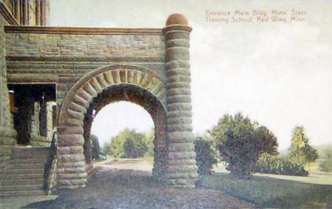 Entrance, Main Building, Minnesota State Training School, Red Wing Minnesota, 1909