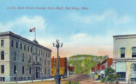 Main Street showing Barn Bluff, Red Wing Minnesota, 1910's