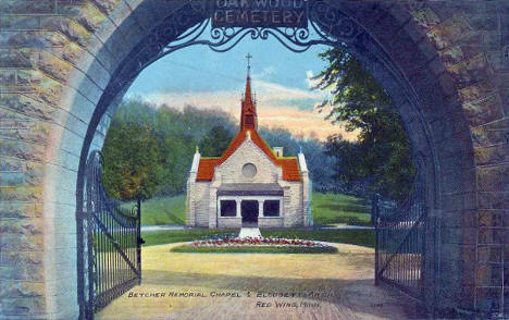 Betcher Memorial Chapel and Blodgett Arch in Oakwood Cemetery, Red Wing Minnesota, 1910's