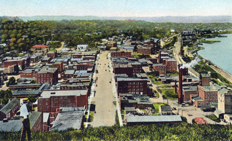 View of Red Wing Minnesota from Barn Bluff, 1930's?