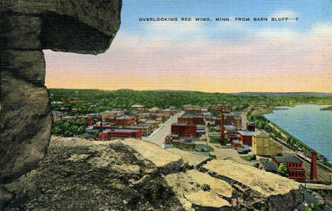 View of Red Wing Minnesota from Barn Bluff, 1940's?