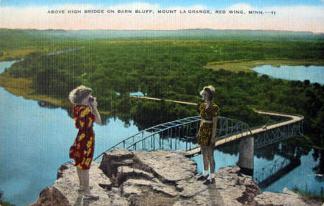 Above High Bridge on Barn Bluff, Red Wing Minnesota, 1950's