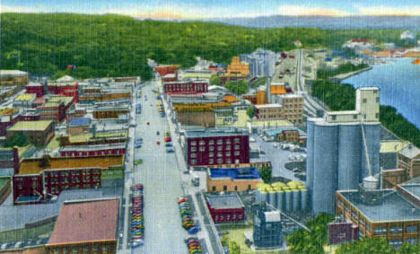 Main Street from Mt. La Grange, Red Wing Minnesota, 1950