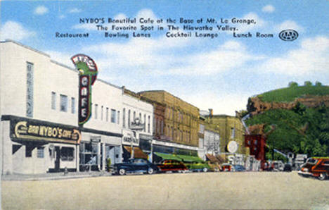 Nybo's Cafe and Downtown Red Wing Minnesota, 1940's