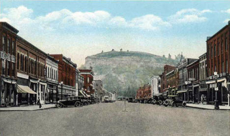 Main Street and Barn Bluff, Red Wing Minnesota, 1930's