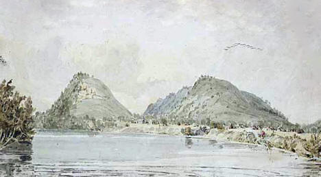 Watercolor of Red Wing's Village, 1847