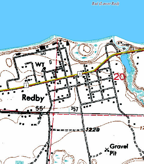 Topographic map of Redby Minnesota
