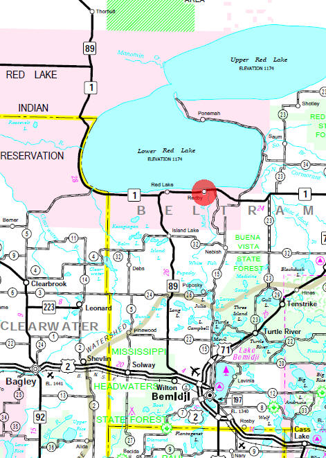 Minnesota State Highway Map of the Redby Minnesota area