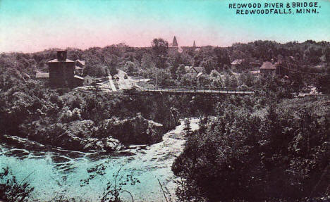 Redwood River and Bridge, Redwood Falls Minnesota, 1914