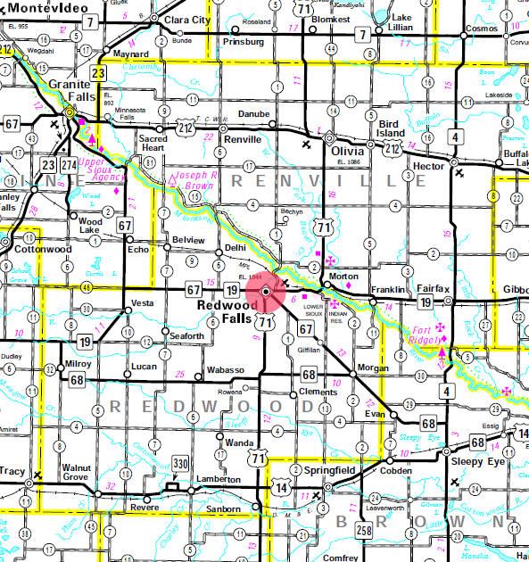 Minnesota State Highway Map of the Redwood Falls Minnesota area
