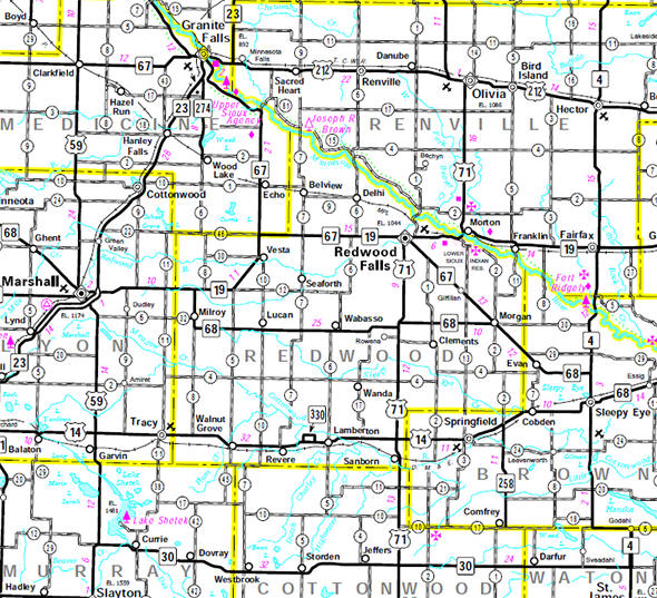 Minnesota State Highway Map of the Redwood County Minnesota area