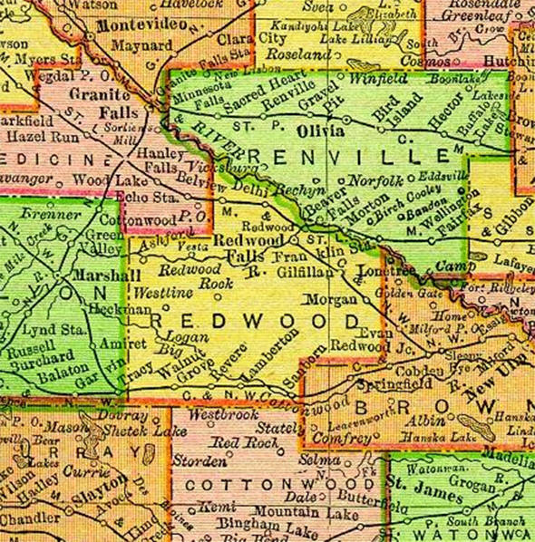 1895 Map of Redwood County Minnesota