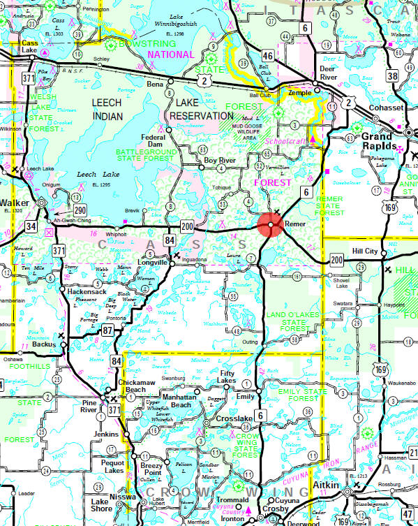 Minnesota State Highway Map of the Remer Minnesota area