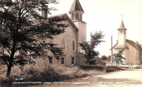 Congregational and Catholic Churches, Remer Minnesota, 1950's?