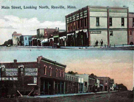 Main Street looking north, Renville Minnesota, 1908