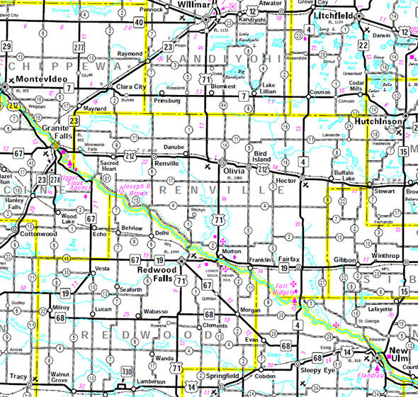 Minnesota State Highway Map of the Renville County Minnesota area