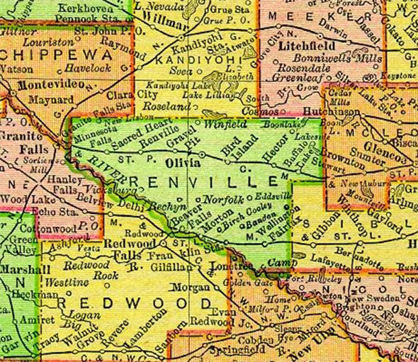 1895 Map of Renville County Minnesota