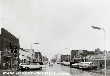 Main Street, Renville Minnesota, early 1960's