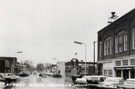 Street scene, Renville Minnesota, early 1960's