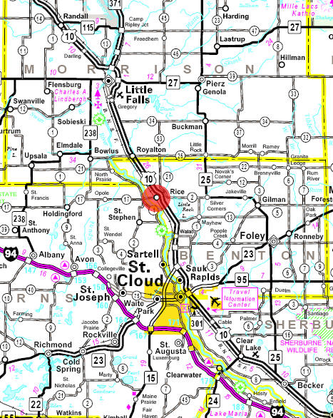 Minnesota State Highway Map of the Rice Minnesota area