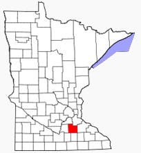 Location of Rice County Minnesota