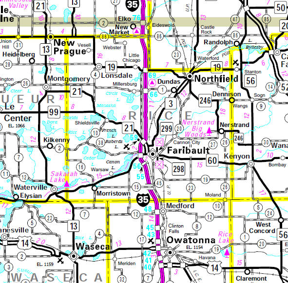 Minnesota State Highway Map of the Rice County Minnesota area