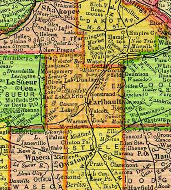 1895 Map of Rice County Minnesota