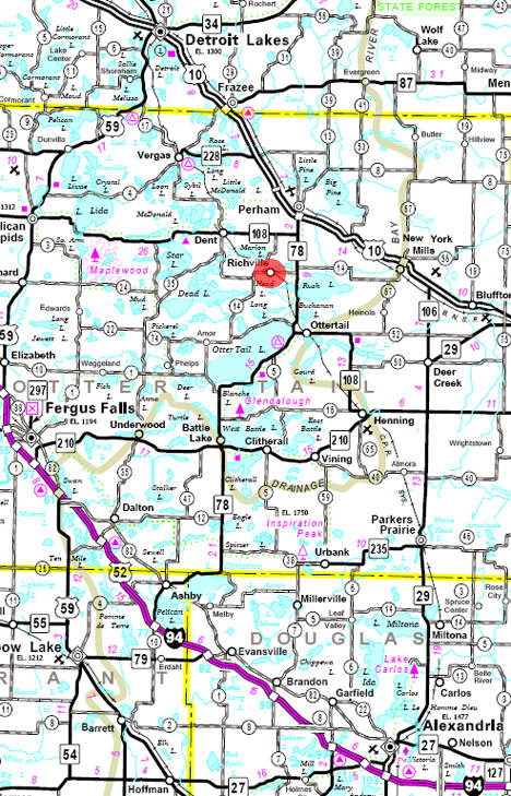 Minnesota State Highway Map of the Richville Minnesota area