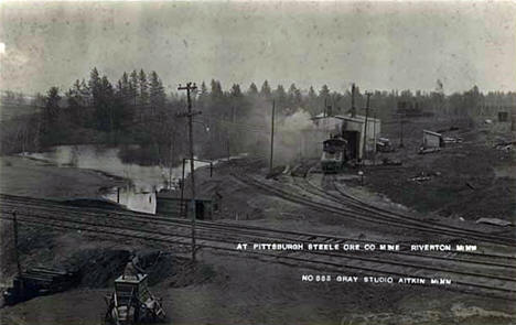 Pittsburgh Steel Ore Company railroad lines at the Rowe Mine in Riverton, 1915