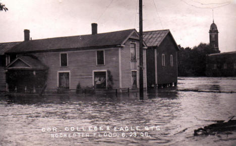 Flood, College and Eagle Streets, Rochester Minnesota, 1908