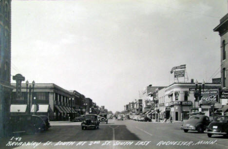 Broadway Street S at 2nd Street SE, Rochester Minnesota, 1940's