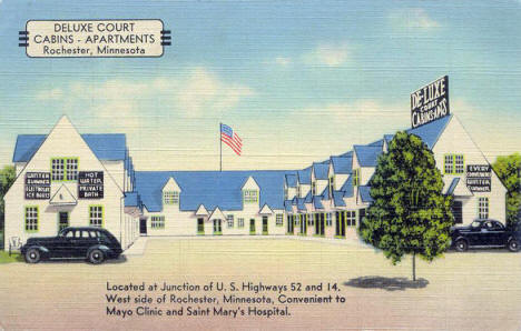 Deluxe Court Cabins and Apartments, Rochester Minnesota, 1940's