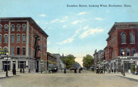 Zumbro Street looking west, Rochester Minnesota, 1914