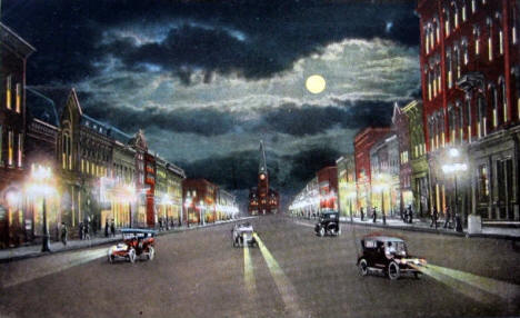 Broadway at night, Rochester Minnesota, 1920's