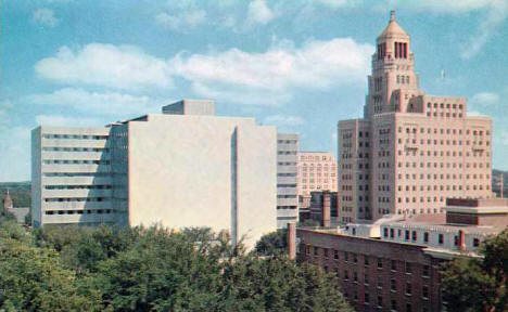 Old and New Mayo Clinic Buildings, Rochester Minnesota, early 1960's