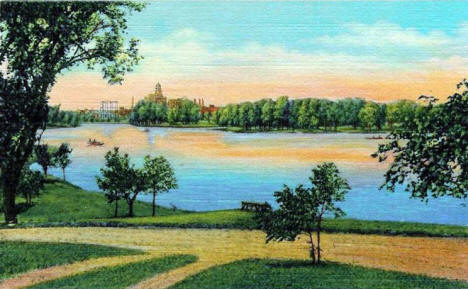 Silver Lake and Mayo Clinic in the distance, Rochester Minnesota, 1937