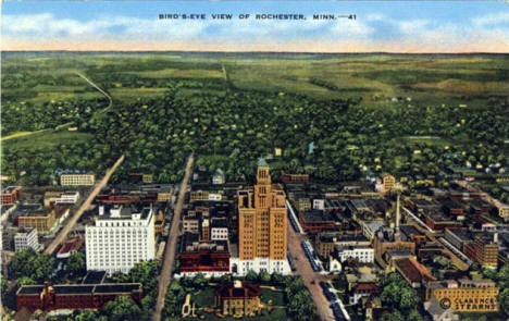 Birds eye view of Rochester Minnesota, 1940's